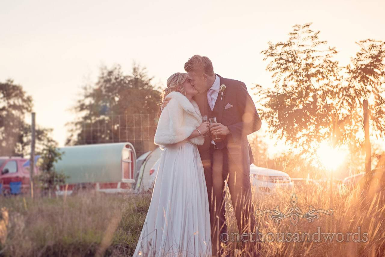 Couple at sunset from Holme for Gardens Dorset wedding