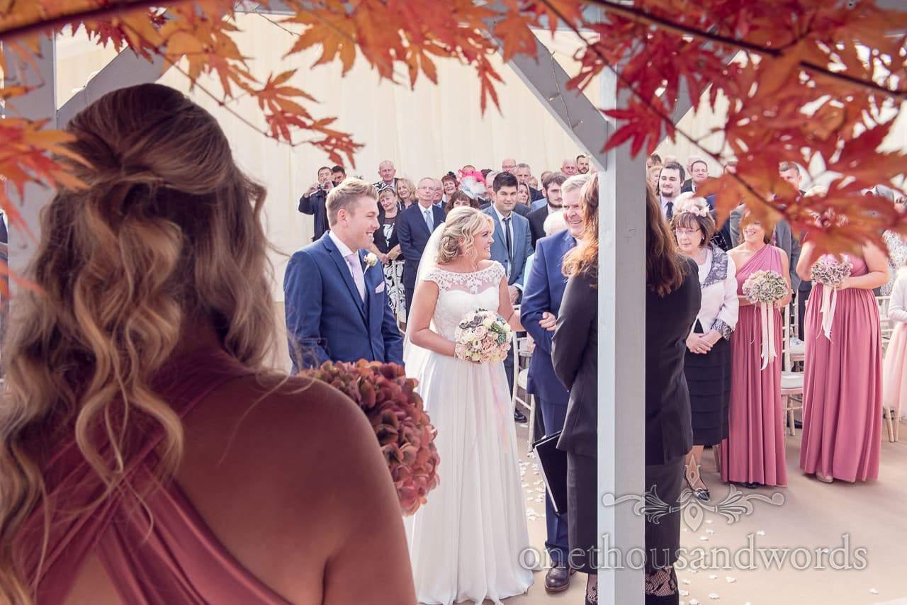 Father give bride away at Holme for Gardens Dorset wedding