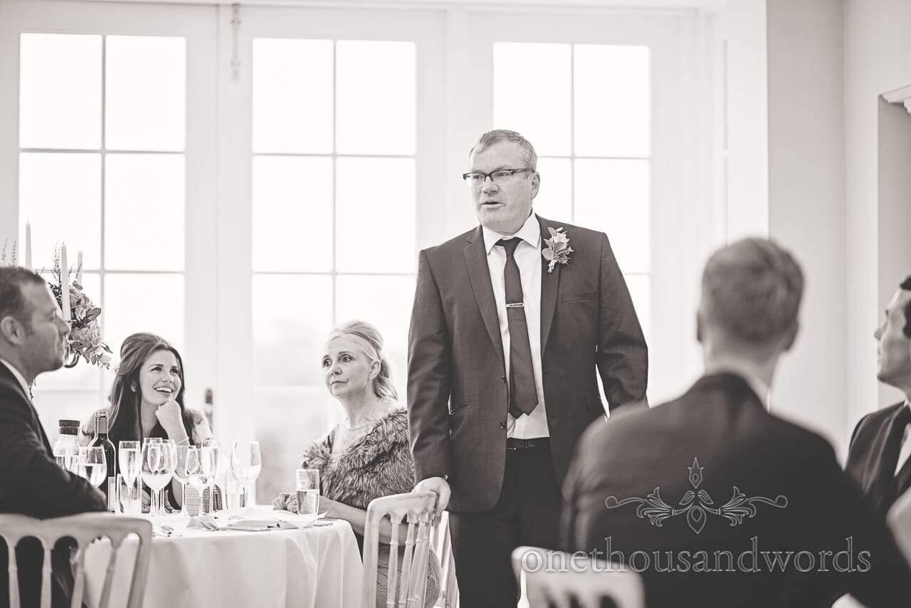Father of bride delivers speech at Froyle Park wedding photographs