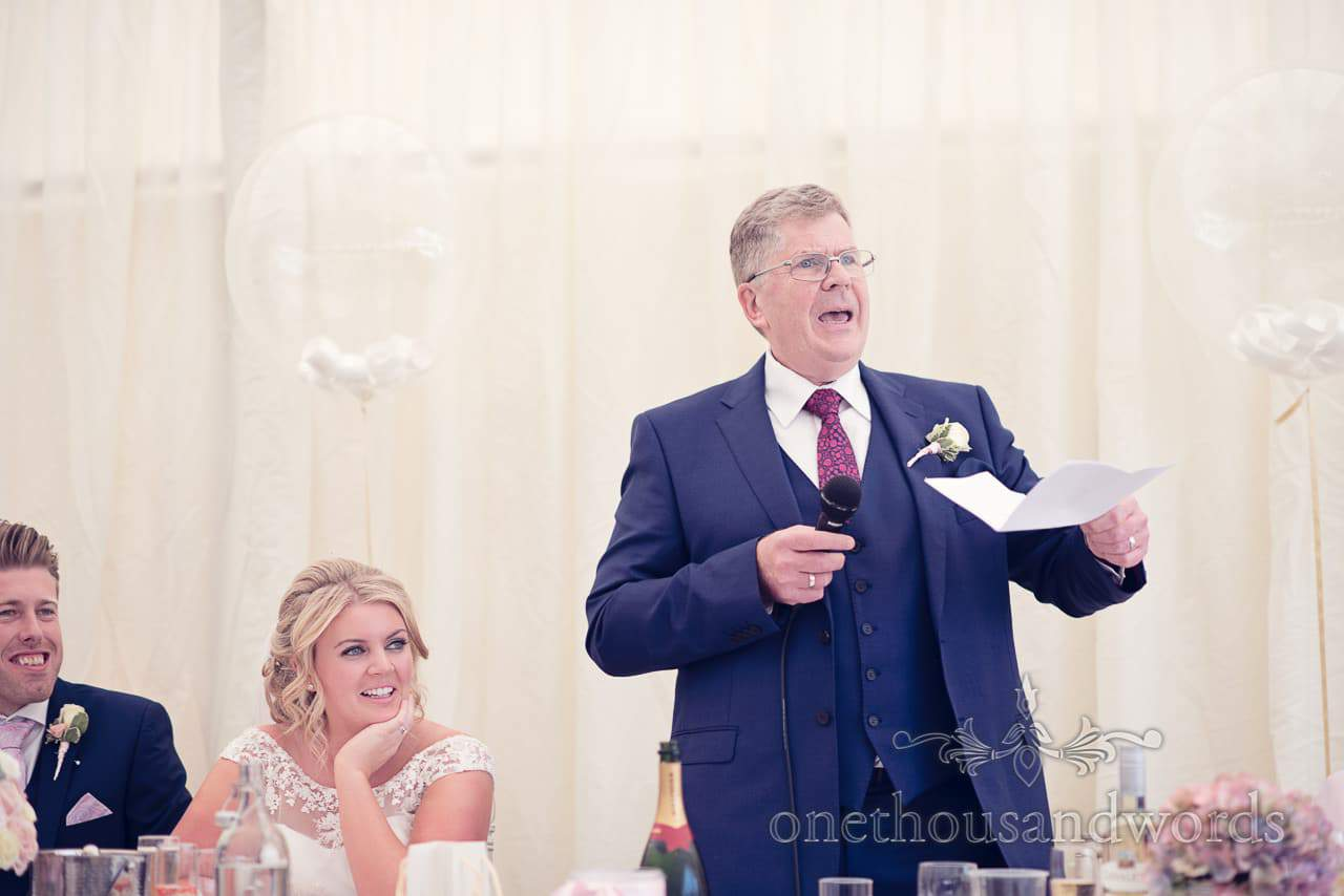 Father of the bride delivers speech at Holme for Gardens Dorset wedding