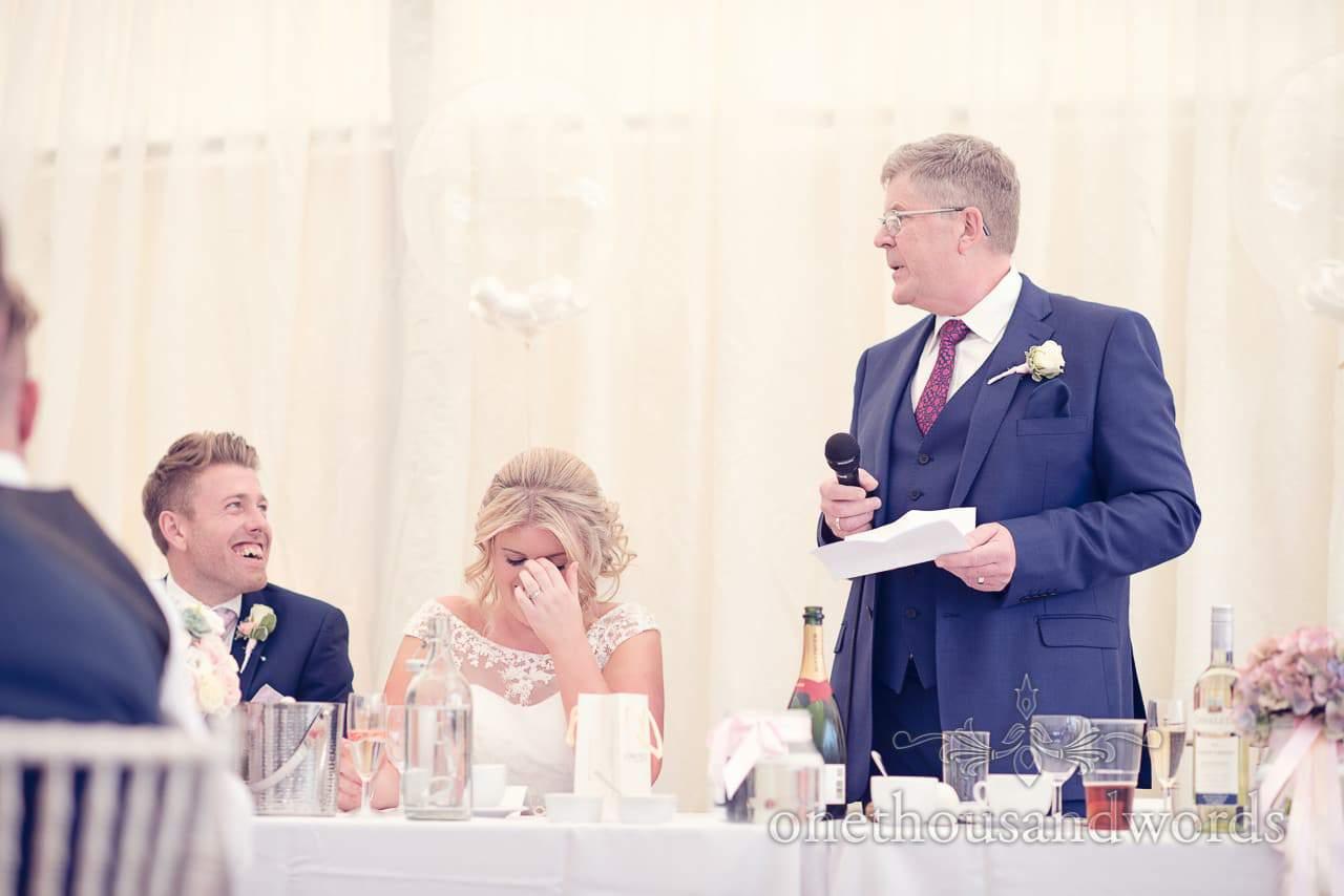 Father of the bride speech at Holme for Gardens Dorset Wedding