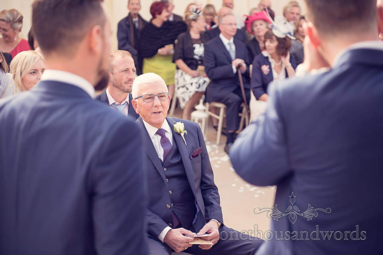 Father of the groom at Holme for Gardens Dorset wedding