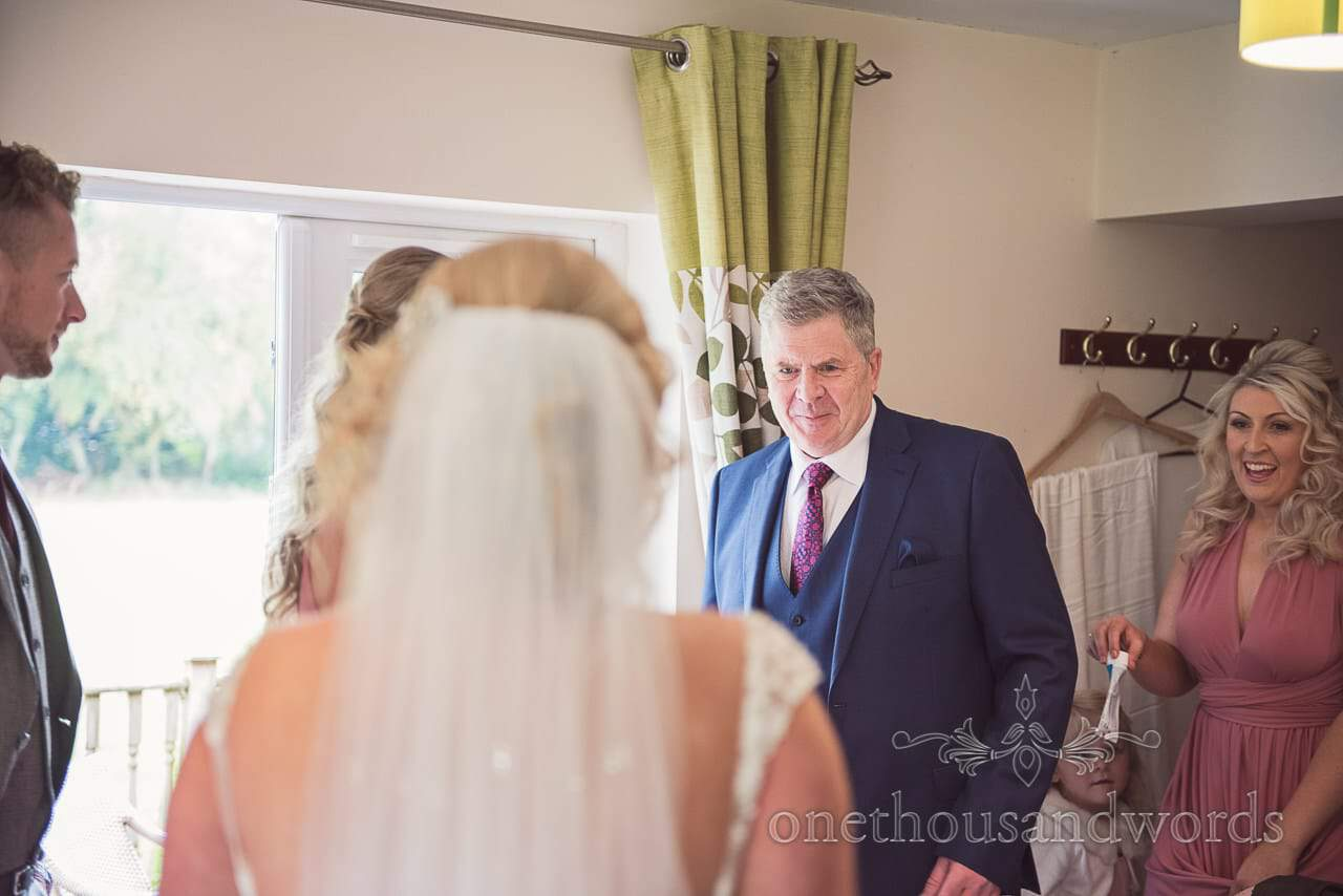 Father sees bride in dress before Holme for Gardens wedding