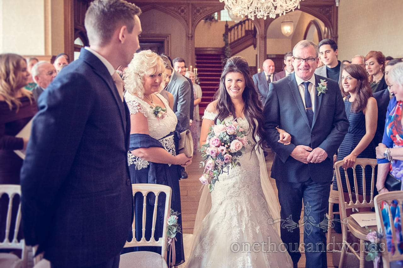 Father walks bride down the aisle at Froyle Park wedding photographs