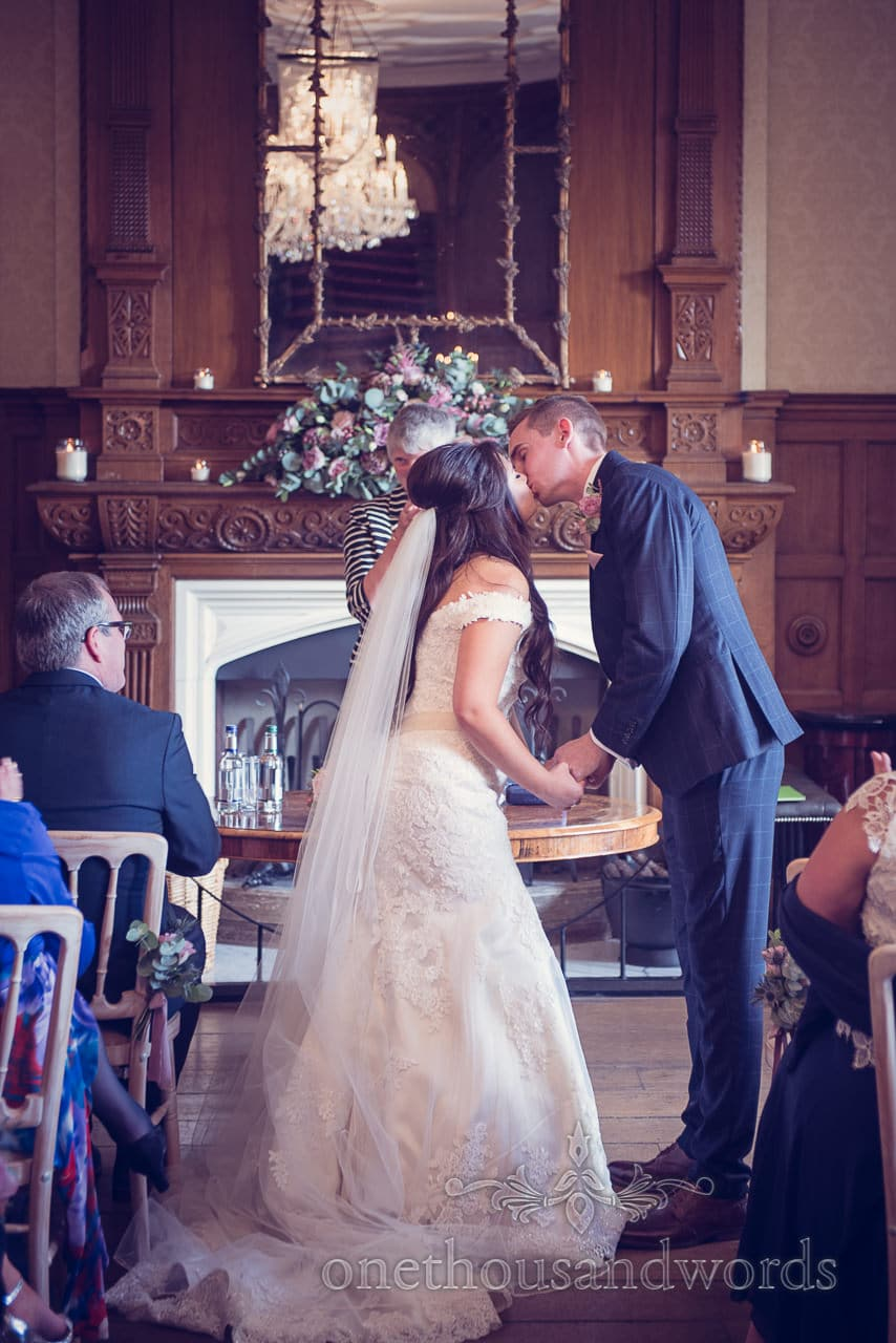First kiss at Froyle Park wedding photographs