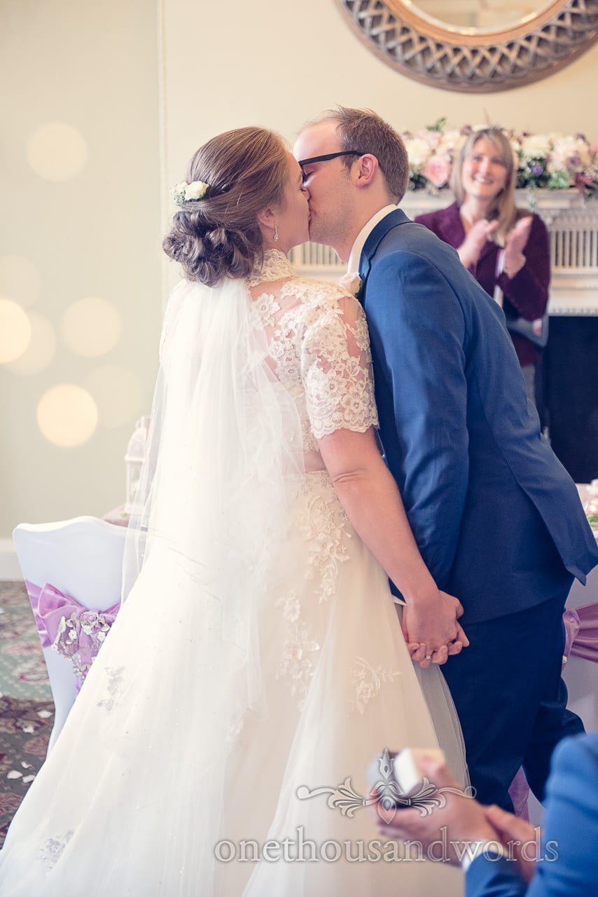 First kiss from Northcote House wedding photographs
