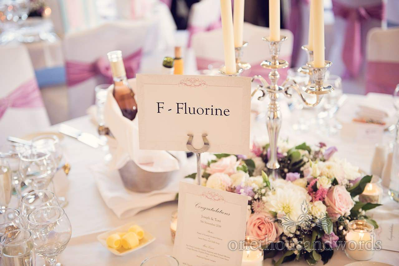 Flourine elements wedding table name place at Northcote House wedding photographs