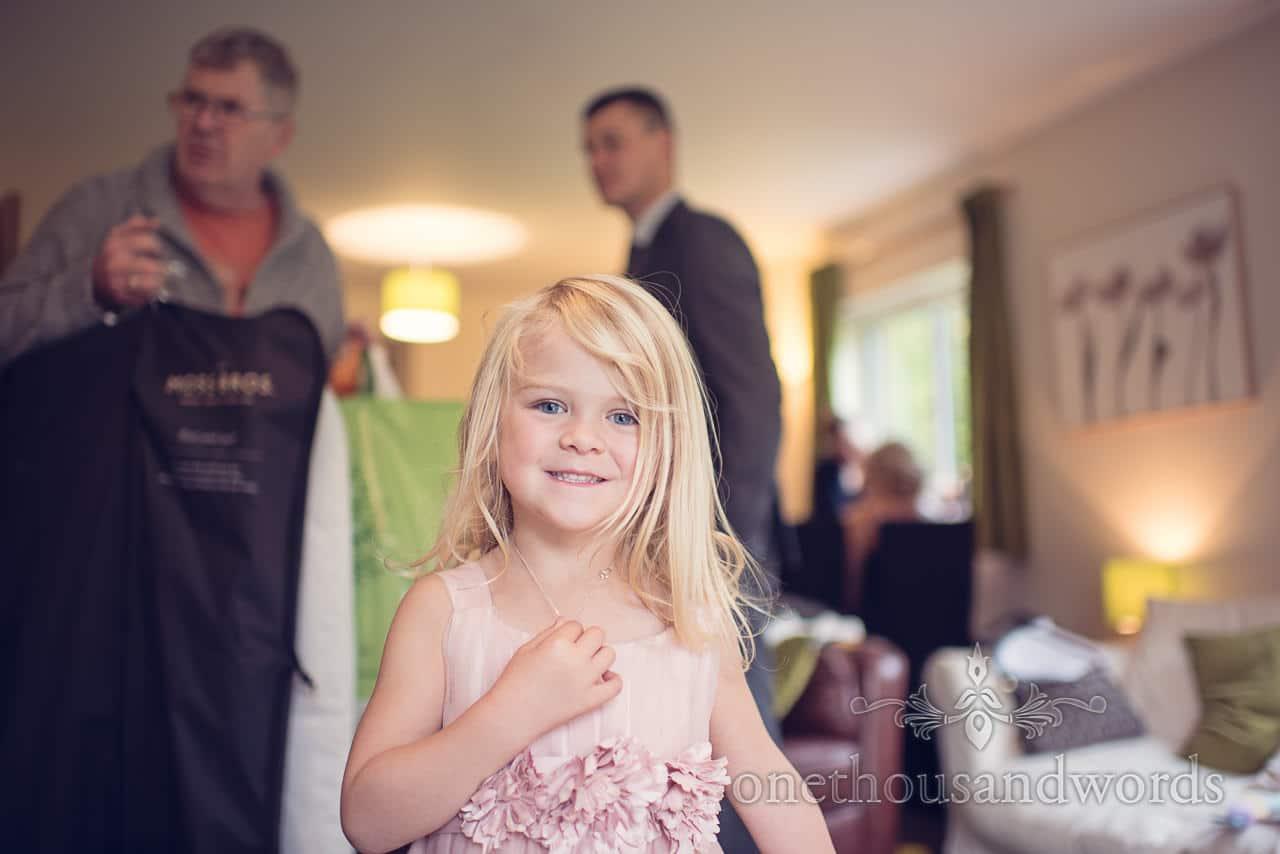 Flower girl on morning of Holme for Gardens wedding