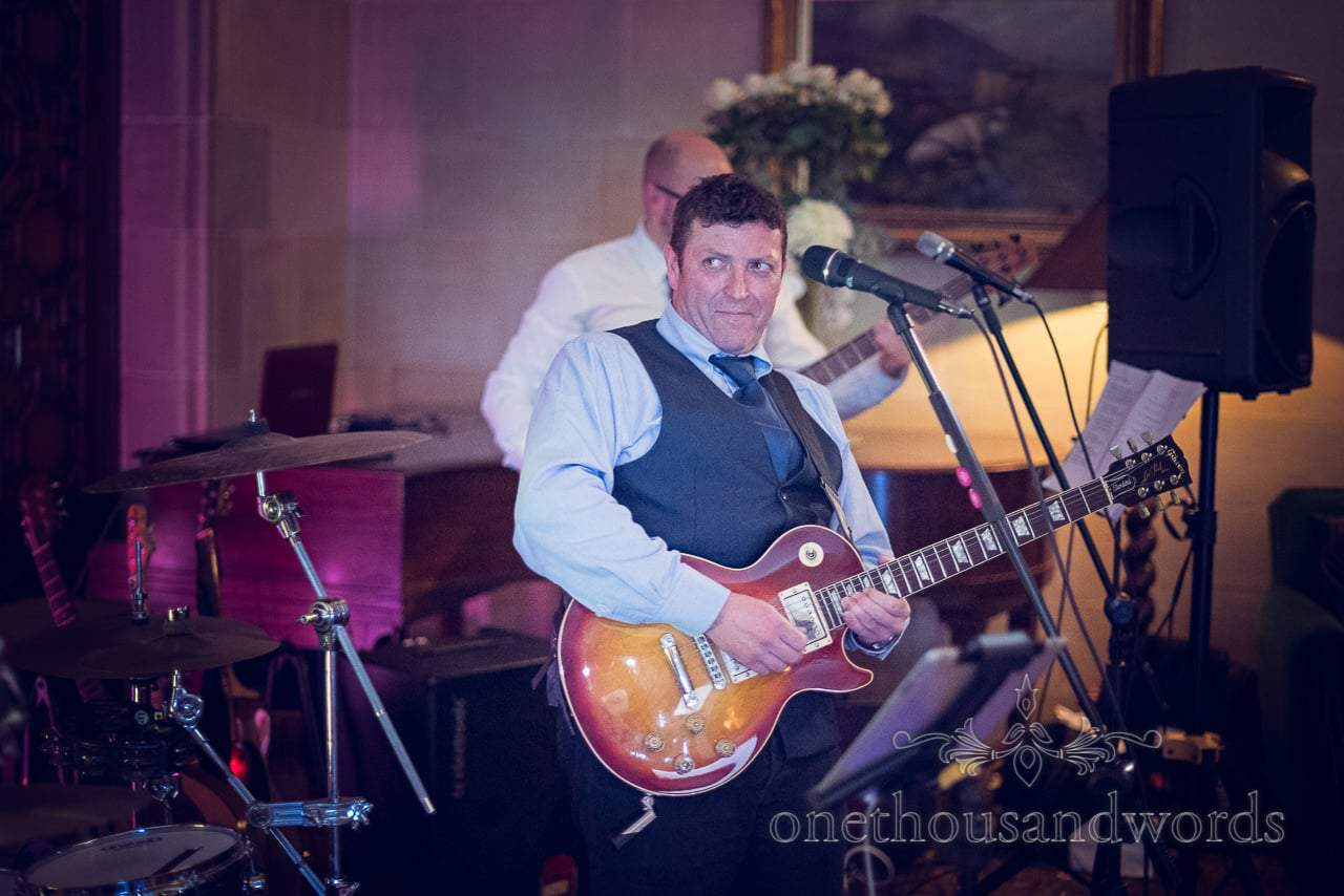 Frankie Rudd wedding band cheeky guitar solo at Northcote House Wedding