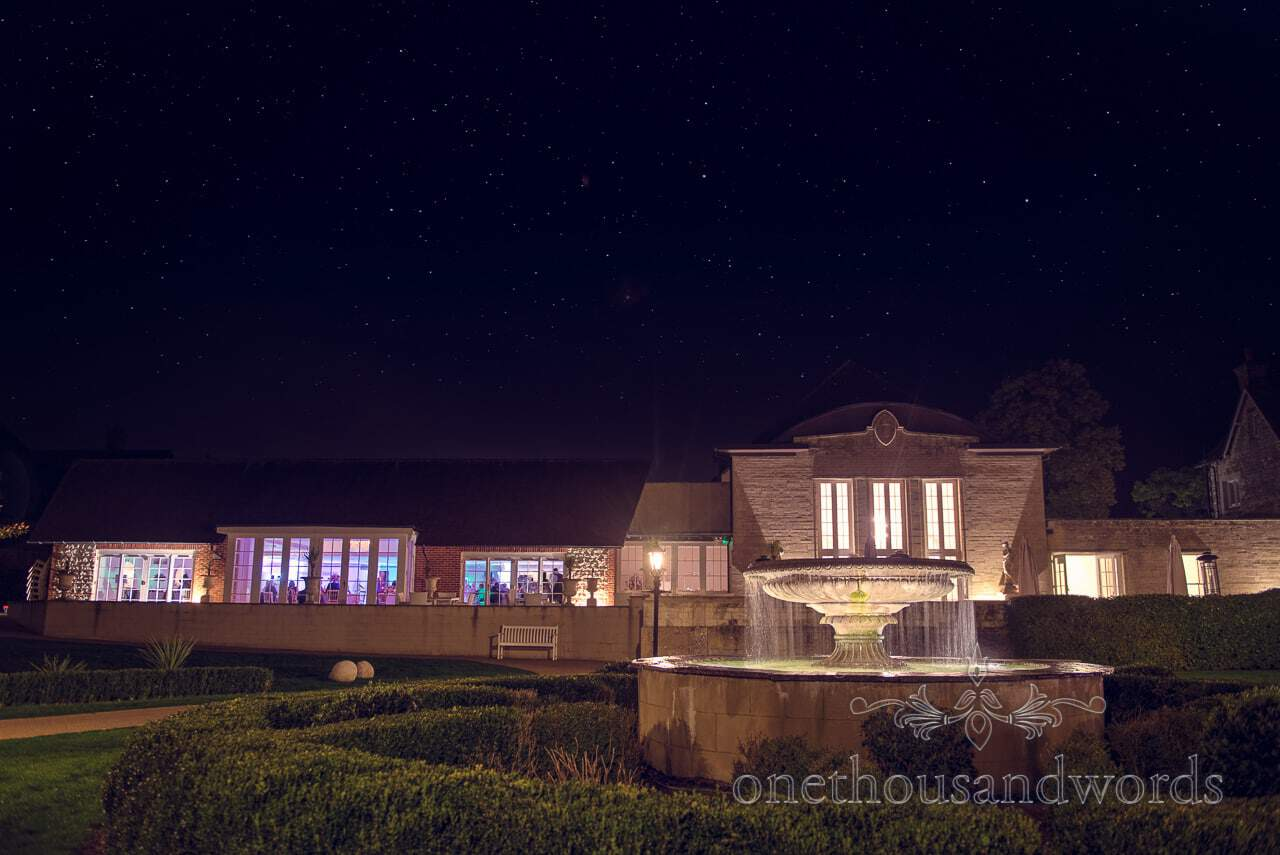 Froyle Park wedding photographs at night with stars