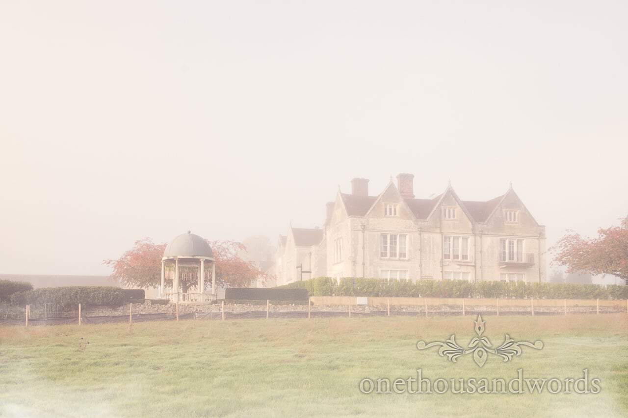 Froyle Park wedding venue and pergola in Autumn morning mist photograph