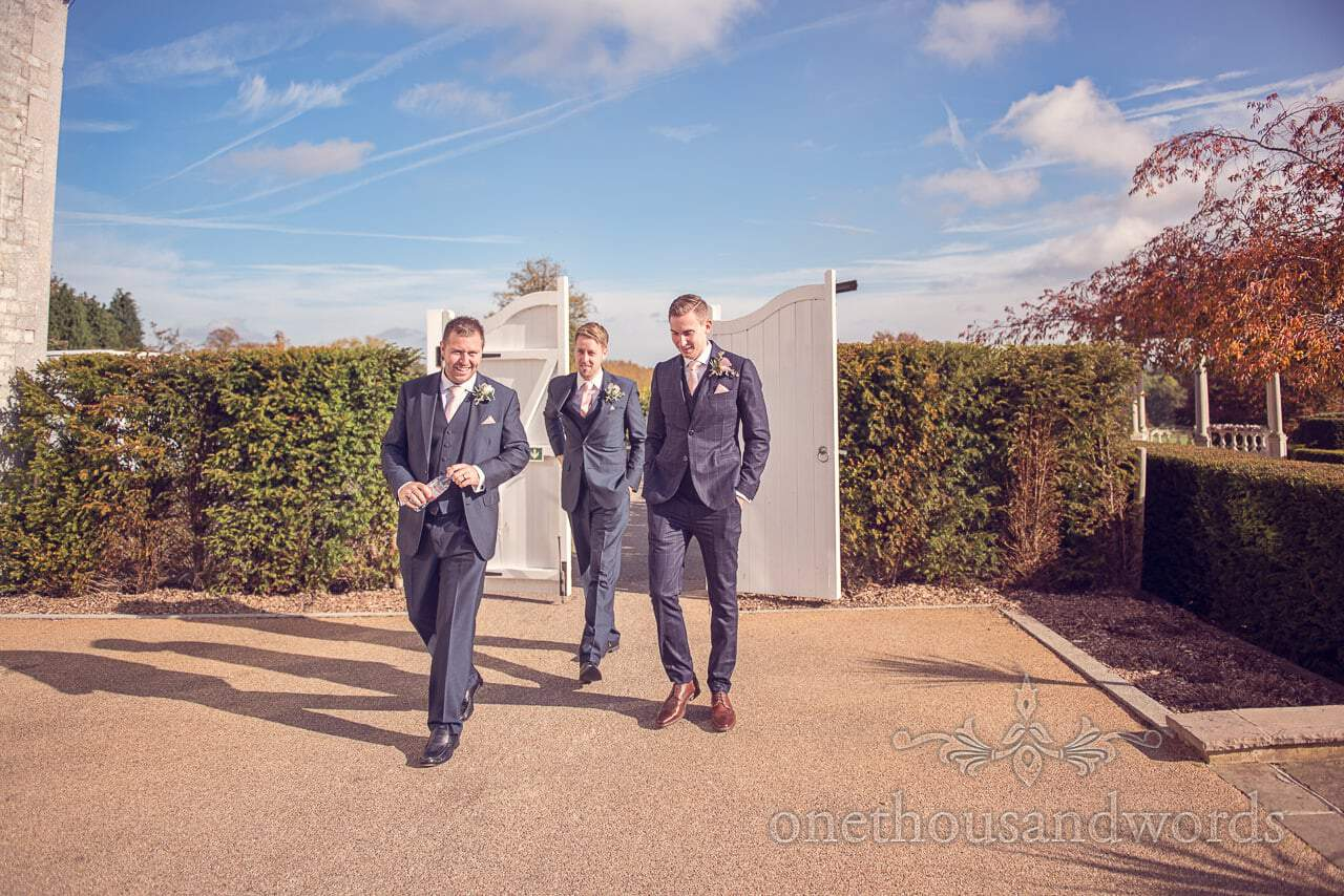 Groom and groomsmen on Autumn wedding morning at Froyle Park wedding venue