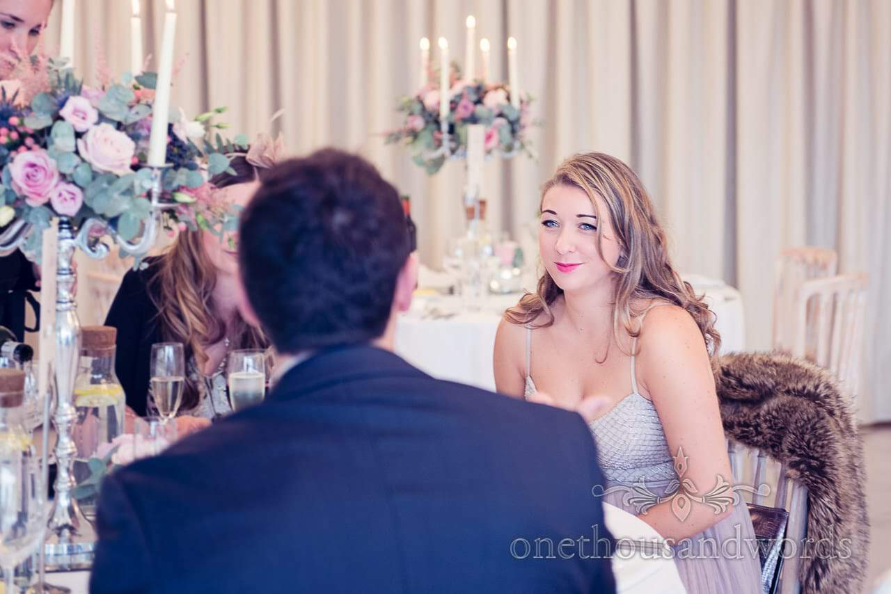 Guest during wedding breakfast at Froyle Park wedding photographs