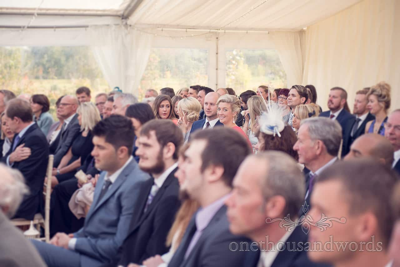 Guests at civil ceremony at Holme for Gardens Dorset wedding