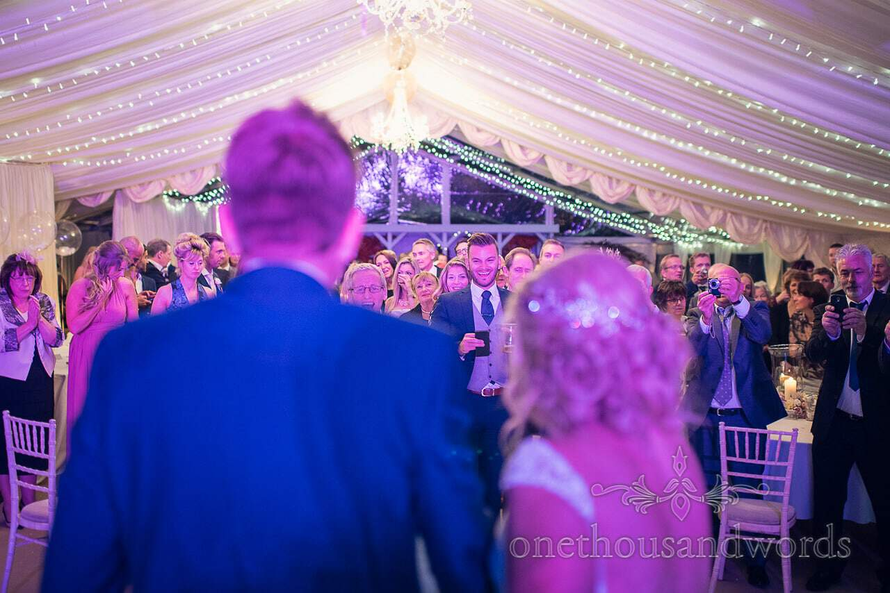 Guests gather at Holme for Gardens Dorset wedding