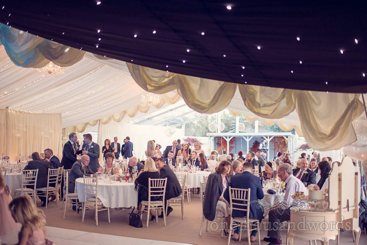 Inside marquee at Holme for Gardens Dorset Wedding