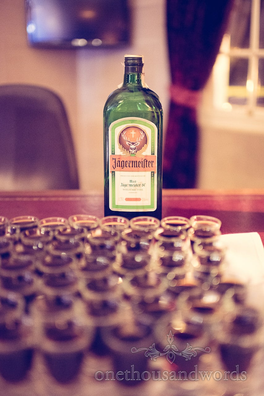 Jagermeister welcome shots for evening guests at Northcote House Wedding