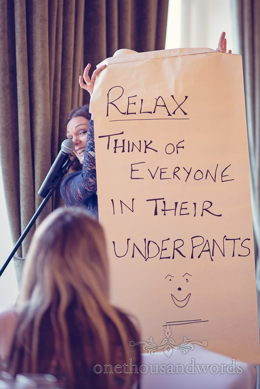 Mother of the bride speech with Relax and think of everyone in their underpants sign
