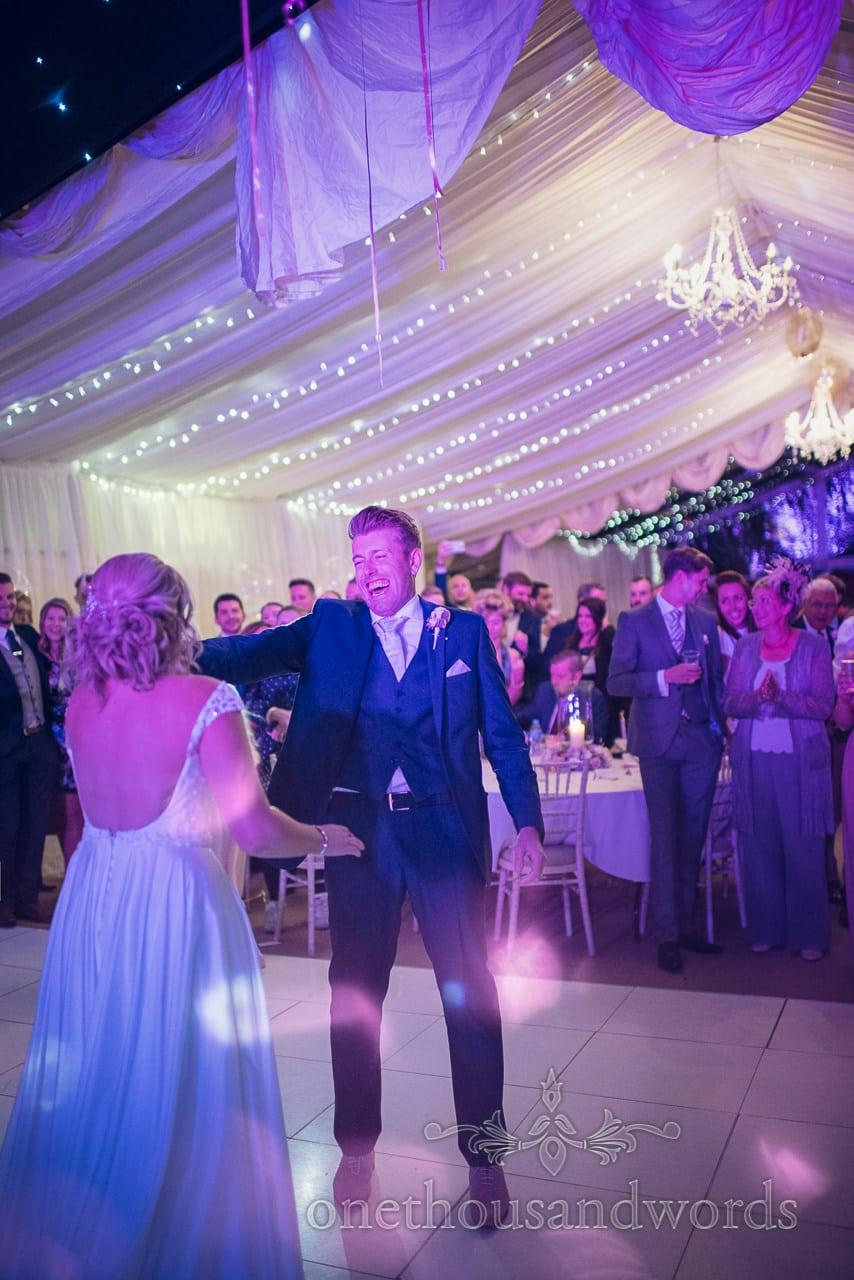 Newlyweds dance at Holme for Gardens Dorset wedding