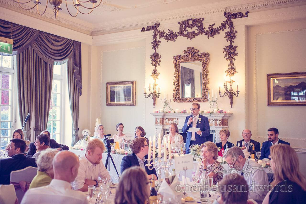 Northcote House wedding photographs of grooms speech at Sunningdale Park wedding