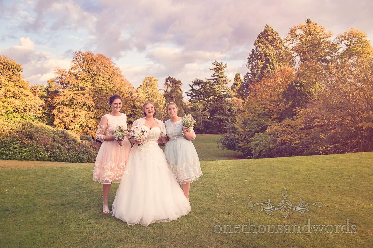 Northcote Wedding photographs of Bride and bridesmaids in autumnal gardens