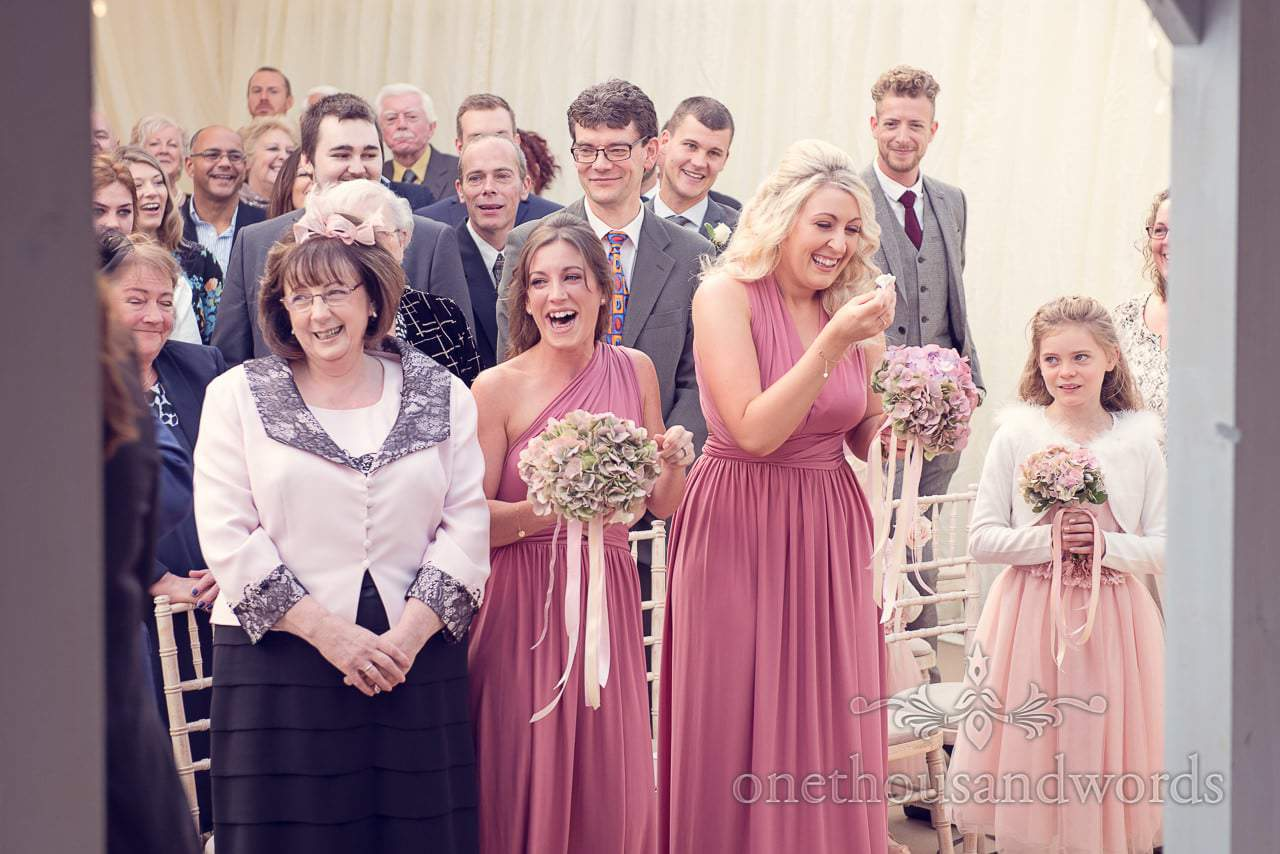 Reaction during ceremony at Holme for Gardens Dorset wedding