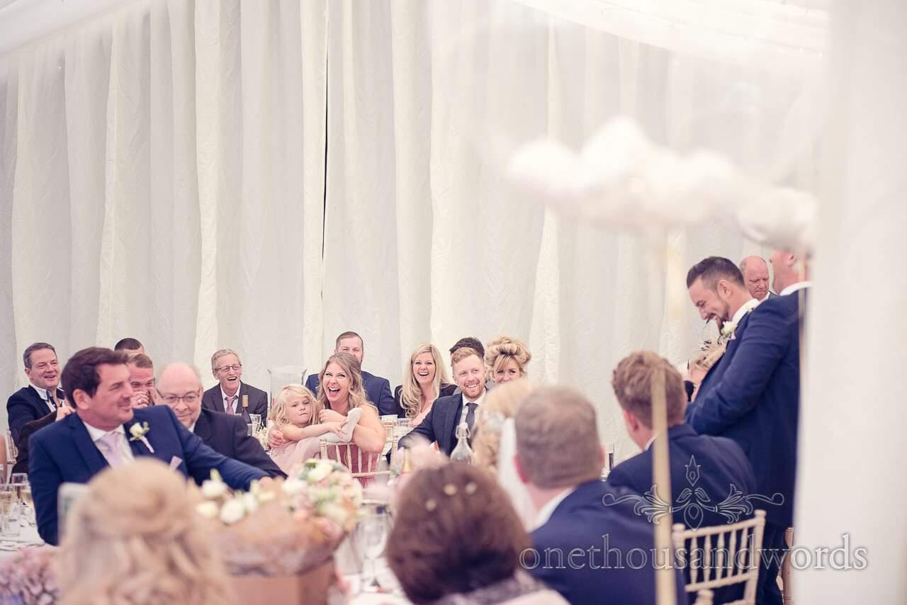 Reaction to best man speech at Holme for Gardens Dorset wedding