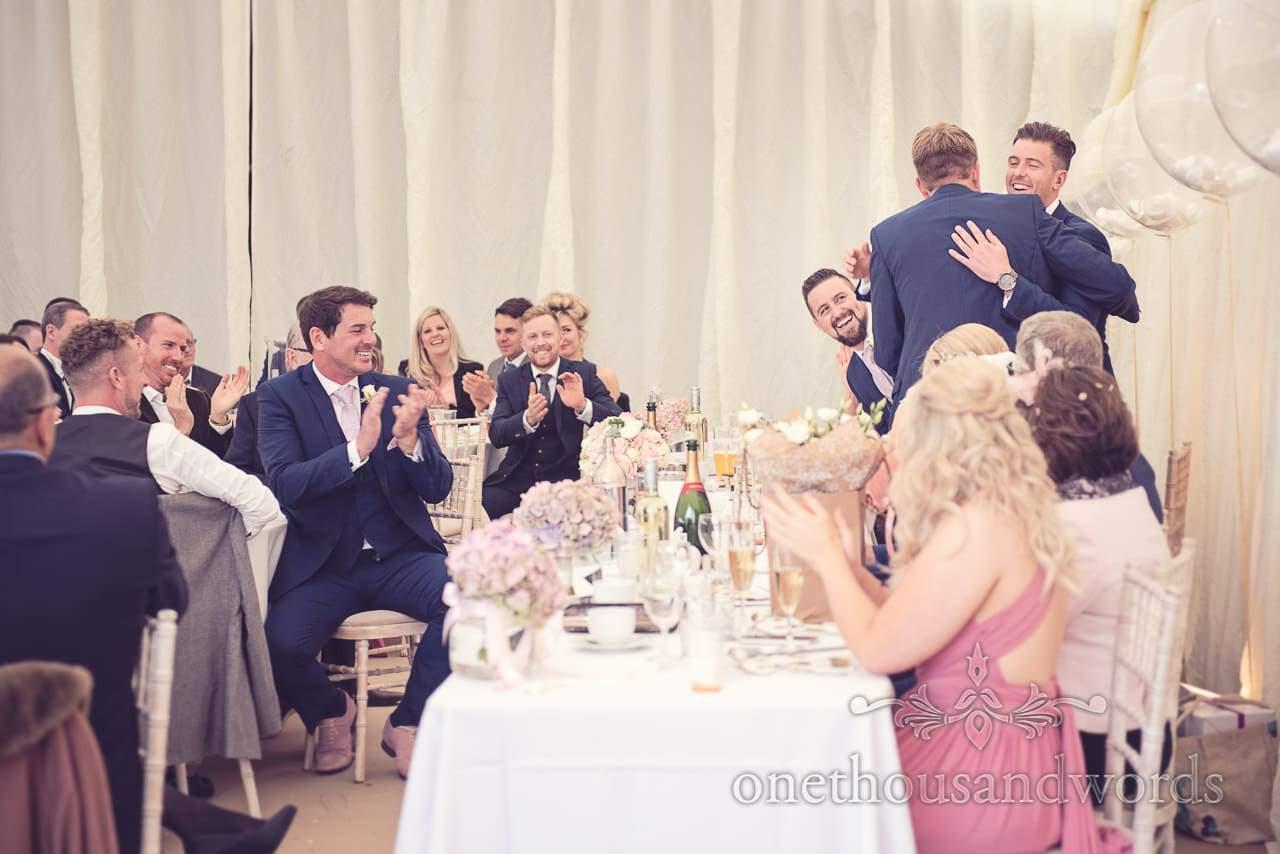 Reaction to grooms speech at Holme for Gardens Dorset wedding