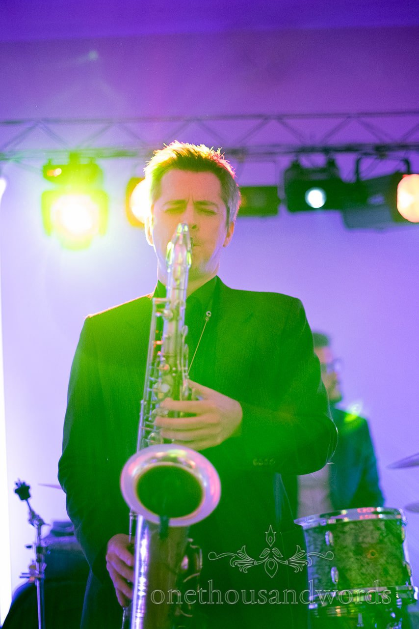 Saxophonist at Froyle Park wedding photographs