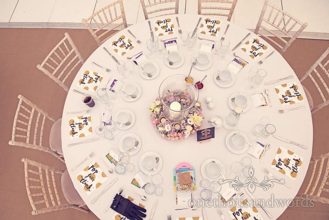 Table set for wedding breakfast at Holme for Gardens Dorset wedding