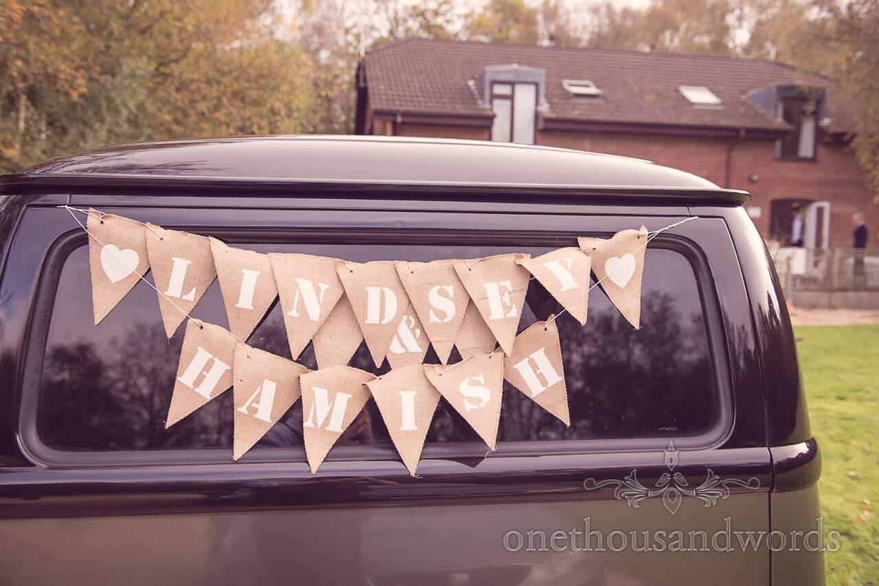 Wedding bunting on VW Van before Holme for Gardens wedding