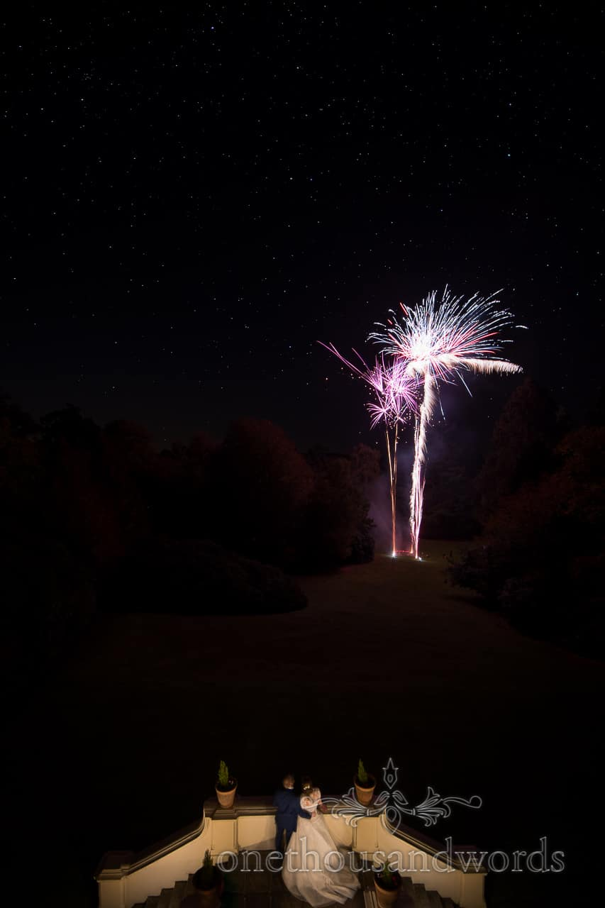 Wedding fireworks photograph with stars at Northcote House wedding