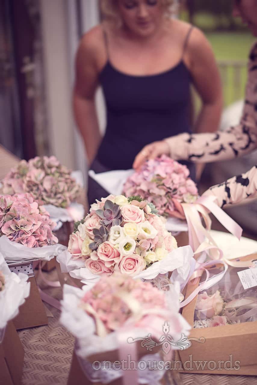 Wedding flowers arrive before Holme for Gardens Dorset wedding
