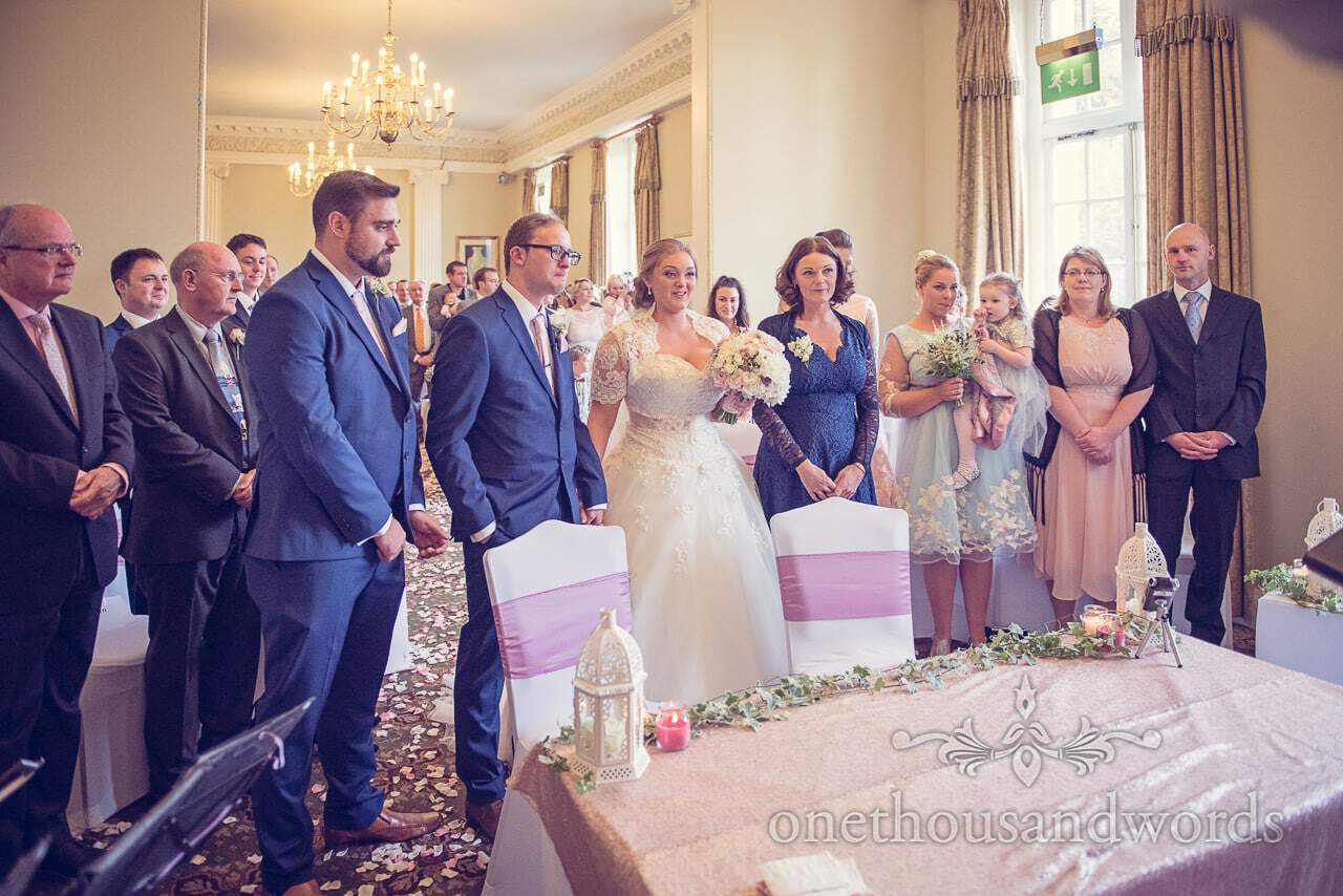 Wedding party standing at Northcote House wedding civil marriage ceremony