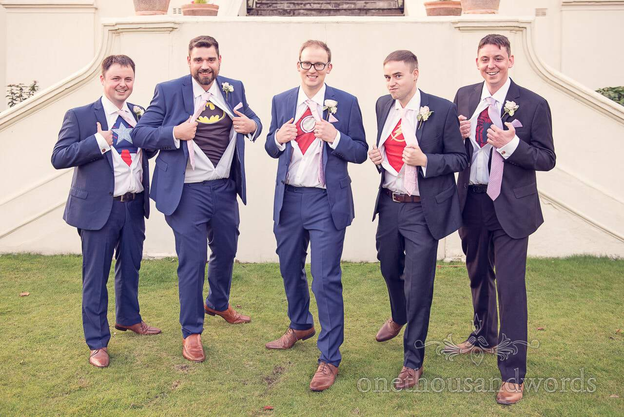 Wedding super hero groomsmen photograph at Nothcote House wedding in Berkshire