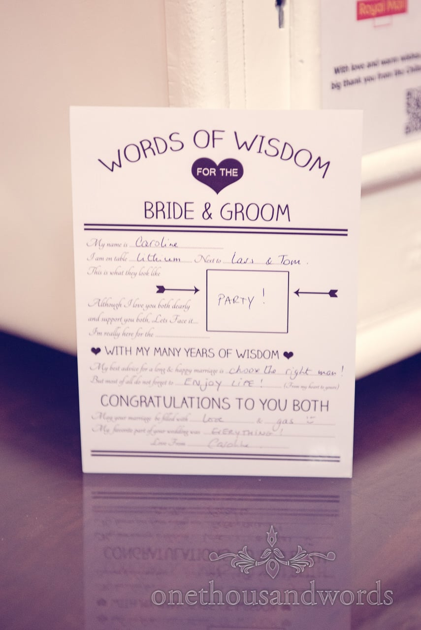 Words of wisdom for bride and groom wedding idea for guests
