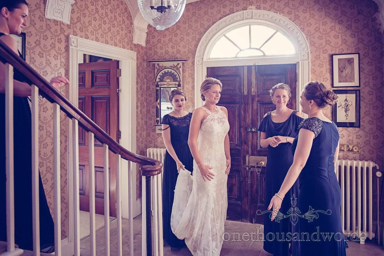 Bride and bridesmaids on morning of Plush manor wedding photographs