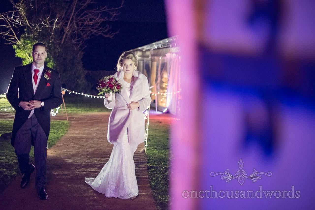 Bride and groom on way to wedding breakfast at Plush manor wedding photographs