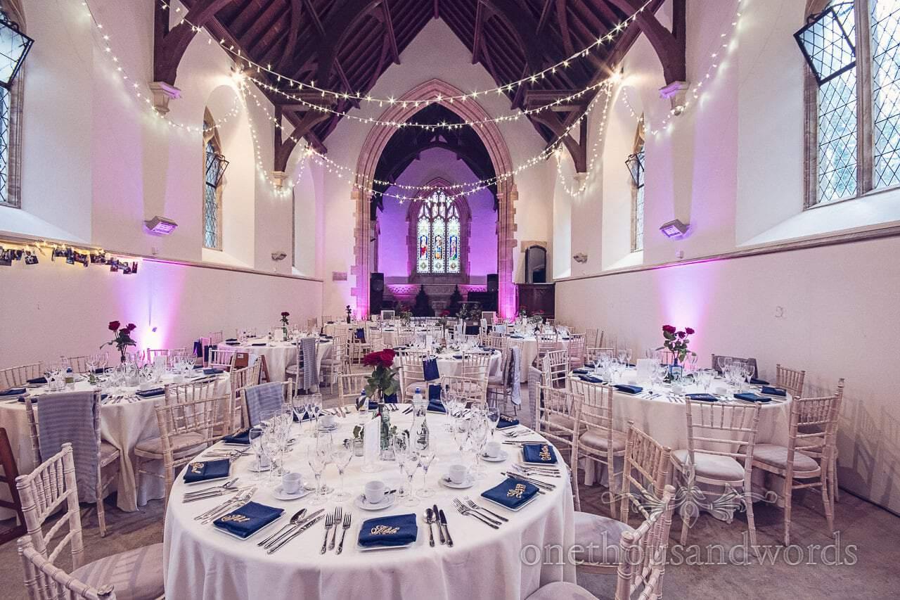 Church decorated for Wedding breakfast at Plush manor wedding photographs