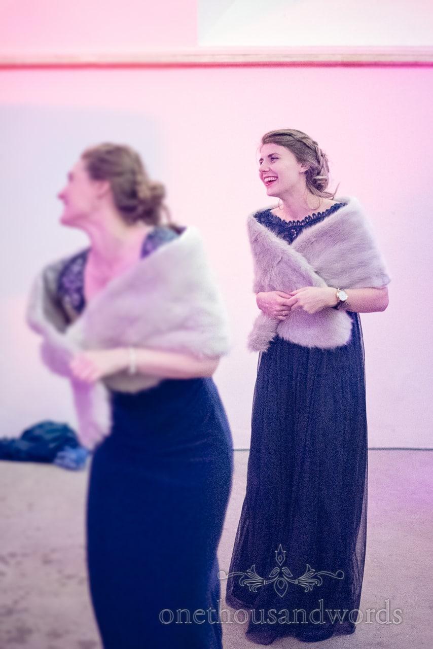 Dancing bridesmaids at Plush manor wedding photographs