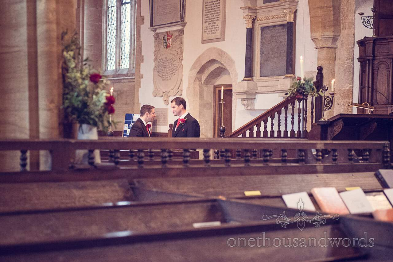 Groom and best man in church from Plush manor wedding photographs