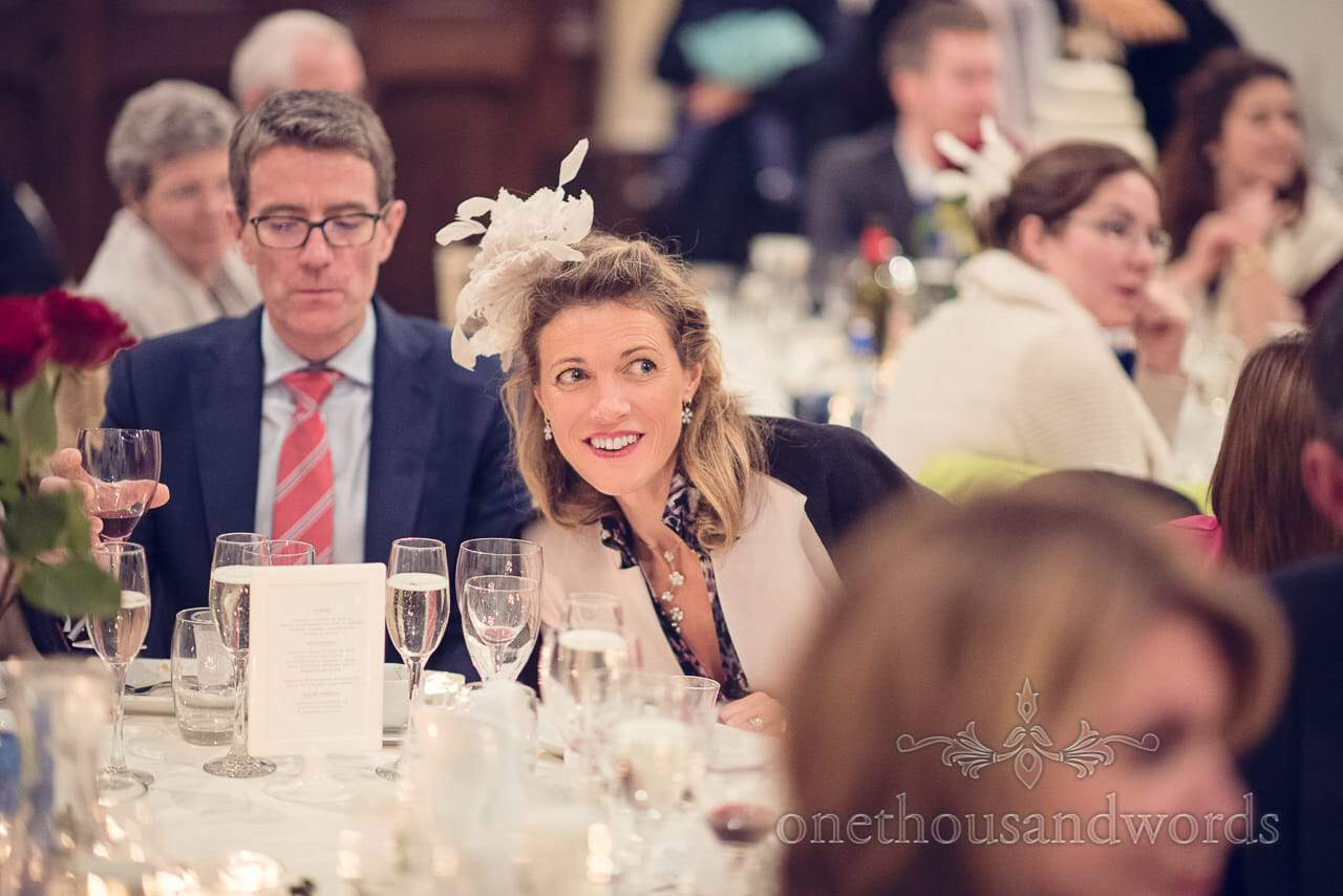 Guests during wedding breakfast at Plush manor wedding photographs