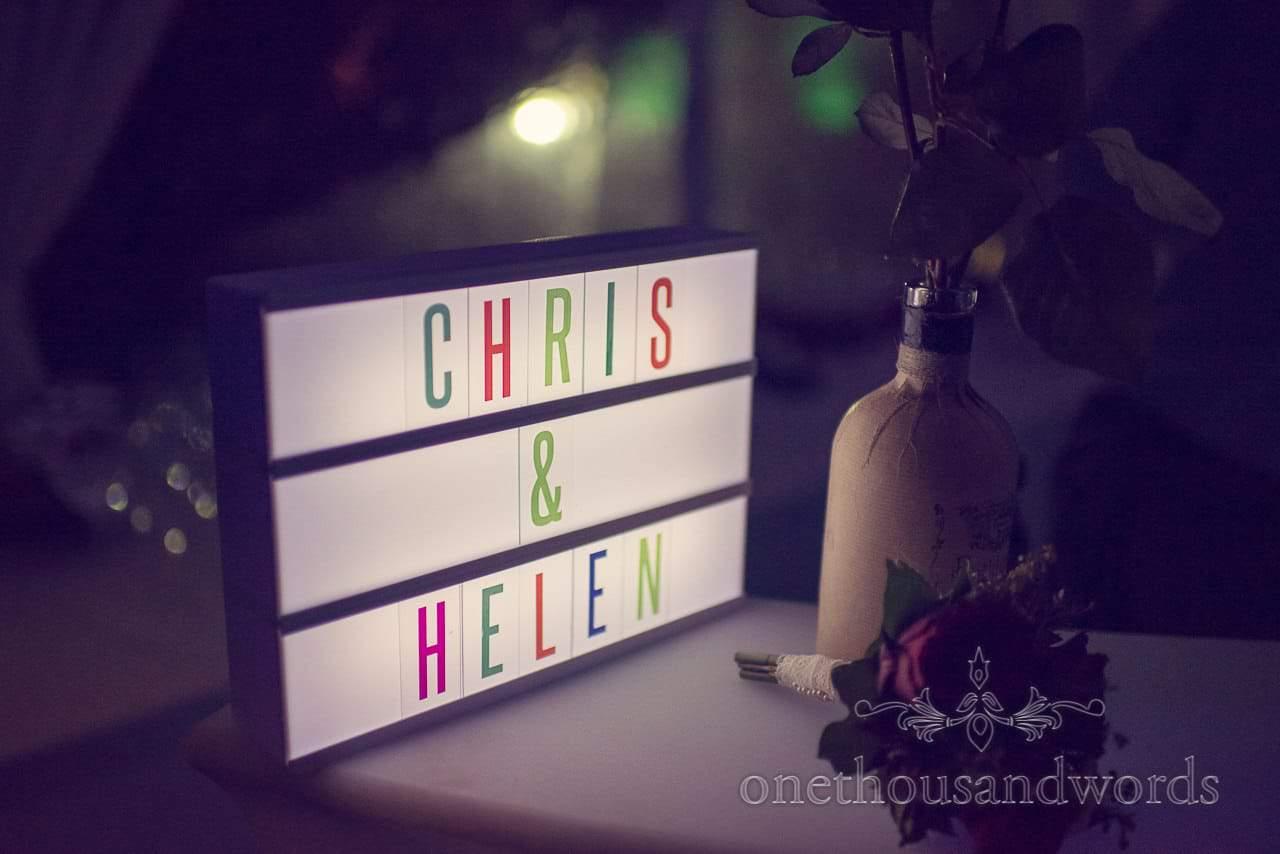Illuminated bar sign from Plush manor wedding photographs