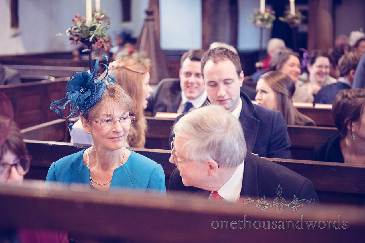 Mother and father of the groom during Dorset church wedding service