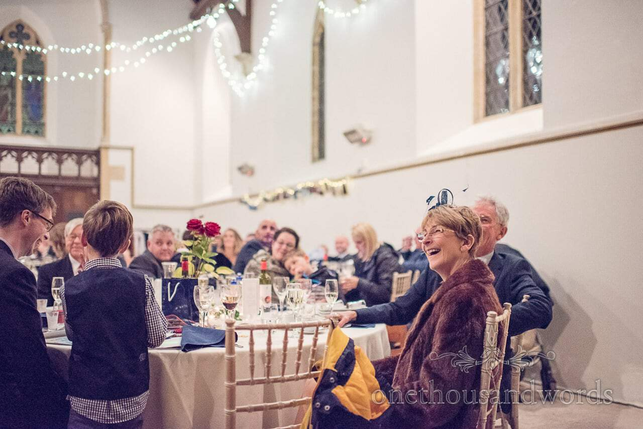 Mother of the grooms reaction to wedding speeches at Plush manor church