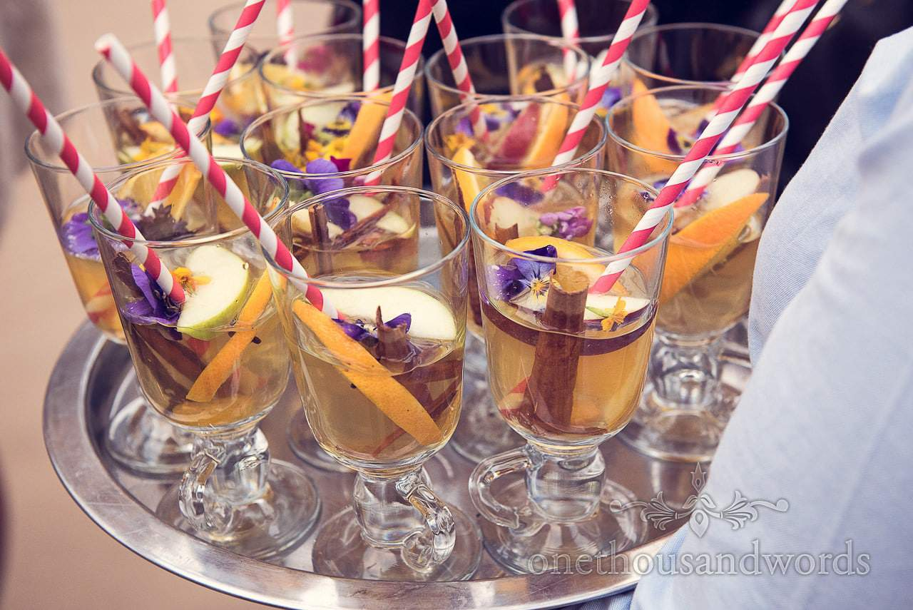 Mulled cider at wedding drinks reception from Plush manor wedding photographs