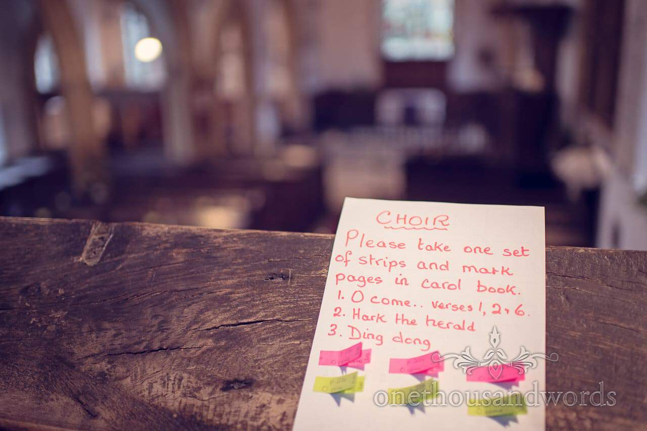 Notes for the choir at St Mary's Church wedding in Puddletown Dorset