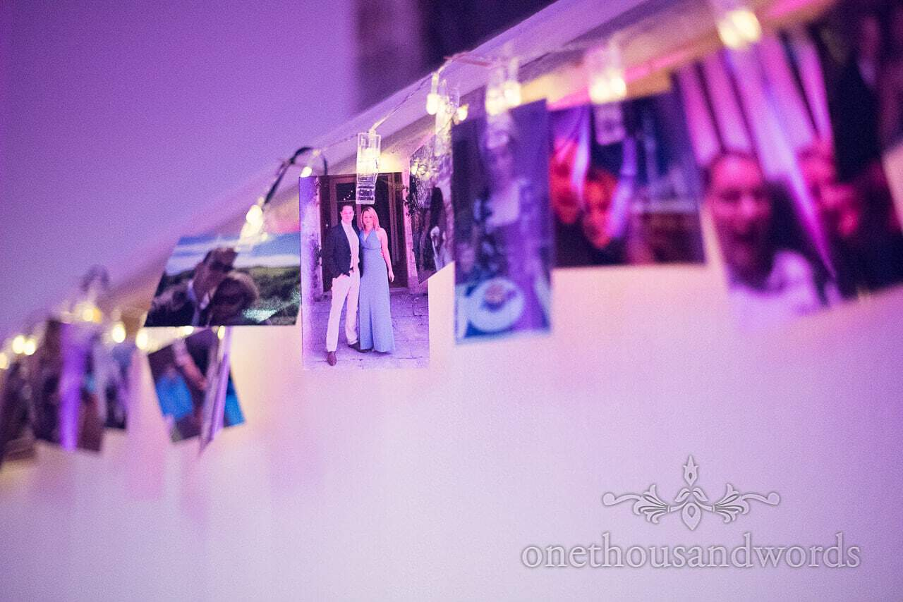 Photographs of bride and groom with fairy lights at Plush manor wedding
