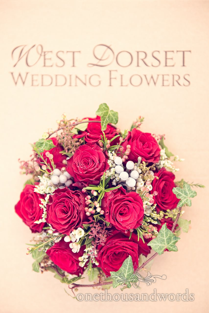 Red Rose wedding boquet from West Dorset Wedding Flowers at Plush manor