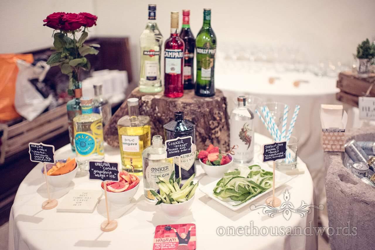The gin bar from Plush manor wedding photographs